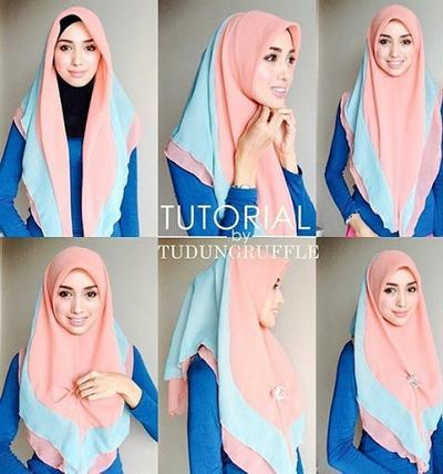 4 Tutorial Hijab Segiempat Buat Kamu Yang Bosan Style Dililit Ke Leher
