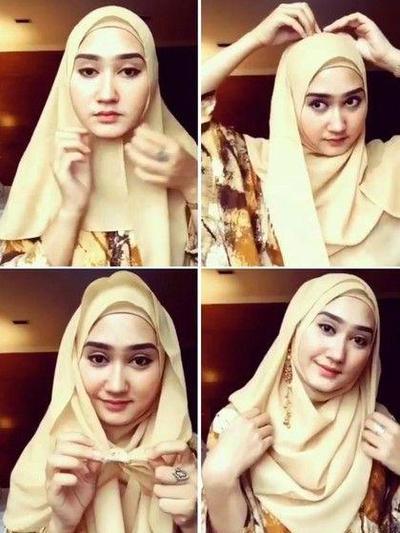 Mau Terlihat Tirus Menggunakan Hijab Yuk Ikuti Tutorial Untuk Wajah Bulat Ini